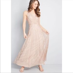Modcloth Blush Pink Sequin Maxi Occasion Dress